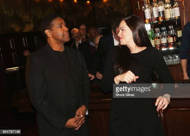 Tony Winner Denzel Washington and Tony Winner Tammy Blanchard chat at The Iceman Cometh on Broadway cast meet greet at Delmonico's on April 11 2018...