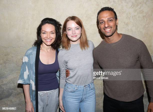 Tony Winner Katrina Lenk Emma Stone and Tony Winner Ari'el Stachel pose backstage at the hit 2018 Tony Winning Best Musical 'The Band's Visit' on...