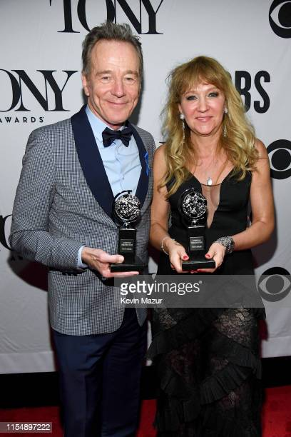 Tony Winners Bryan Cranston and Sonia Friedman pose backstage during the 73rd Annual Tony Awards at Radio City Music Hall on June 09 2019 in New York...