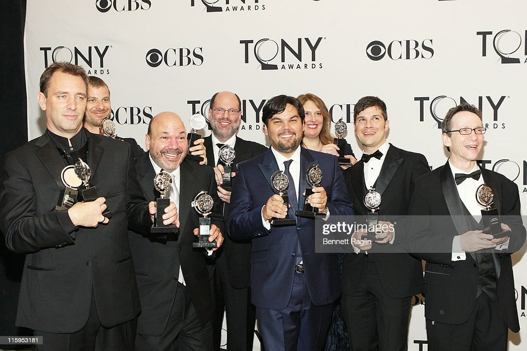 Tony winners for 'Book of Mormon' Trey Parker, Matt Stone, Casey Nicholaw, Scott Rudin, Robert Lopez, Ann Garefino, Stephen Oremus and Larry Hochman pose in the press room during the 65th Annual Tony Awards at the The Jewish Community Center in Manhattan on June 12, 2011 in New York City.