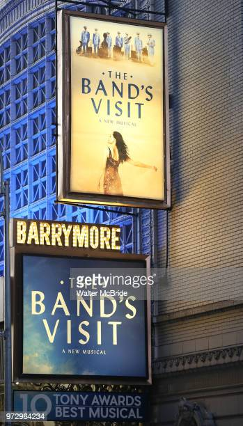 Tony Winning Theatre Marquee for David Yazbek with the Alexandria Ceremonial Police Orchestra during 'The Band's Visit' postshow jam celebrating the...