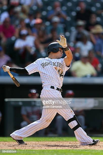 Tony Wolters of the Colorado Rockies bats against the Washington Nationals at Coors Field on August 17 2016 in Denver Colorado