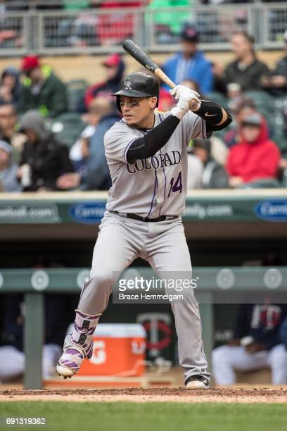 Tony Wolters of the Colorado Rockies bats during game one of a doubleheader against the Minnesota Twins on May 18 2017 at Target Field in Minneapolis...