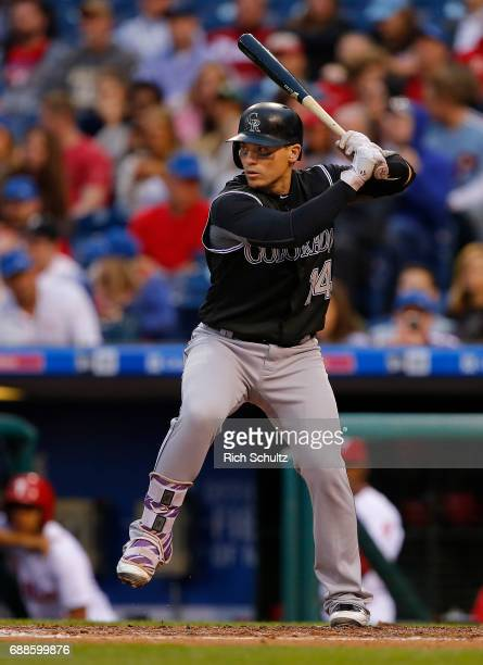 Tony Wolters of the Colorado Rockies in action against the Philadelphia Phillies during a game at Citizens Bank Park on May 24 2017 in Philadelphia...