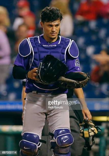 Tony Wolters of the Colorado Rockies in action during a game against the Philadelphia Phillies at Citizens Bank Park on May 22 2017 in Philadelphia...