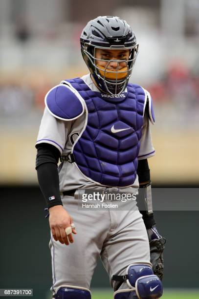 Tony Wolters of the Colorado Rockies looks on during game one of a doubleheader against the Minnesota Twins on May 18 2017 at Target Field in...