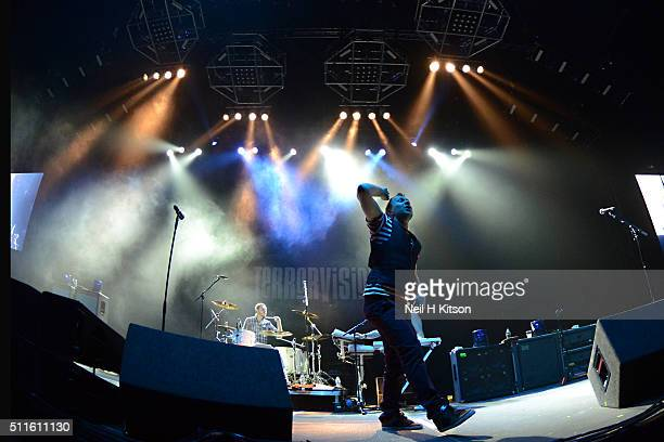 Tony Wright of Terrorvision performs at Motorpoint Arena on February 19 2016 in Sheffield England