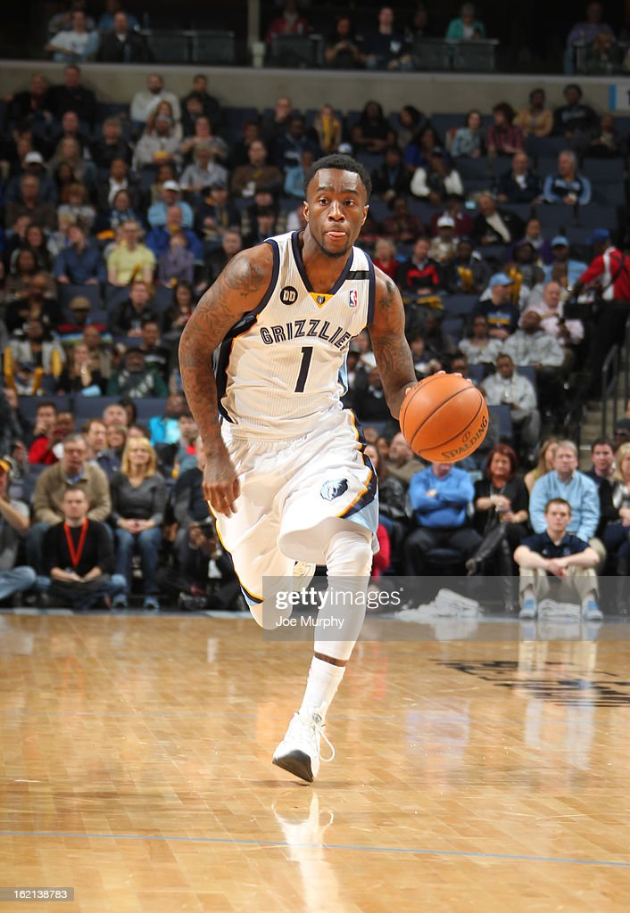 Tony Wroten #1 of the Memphis Grizzlies brings the ball up court against the Washington Wizards on February 1, 2013 at FedExForum in Memphis, Tennessee.