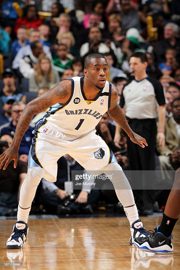 Tony Wroten #1 of the Memphis Grizzlies defends against the Oklahoma City Thunder on March 20, 2013 at FedExForum in Memphis, Tennessee.