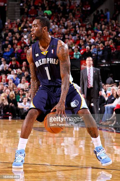 Tony Wroten of the Memphis Grizzlies dribbles the ball between his legs against the Portland Trail Blazers on March 12 2013 at the Rose Garden Arena...