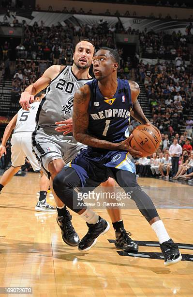 Tony Wroten of the Memphis Grizzlies drives against Manu Ginobili of the San Antonio Spurs during Game One of the Western Conference Finals between...