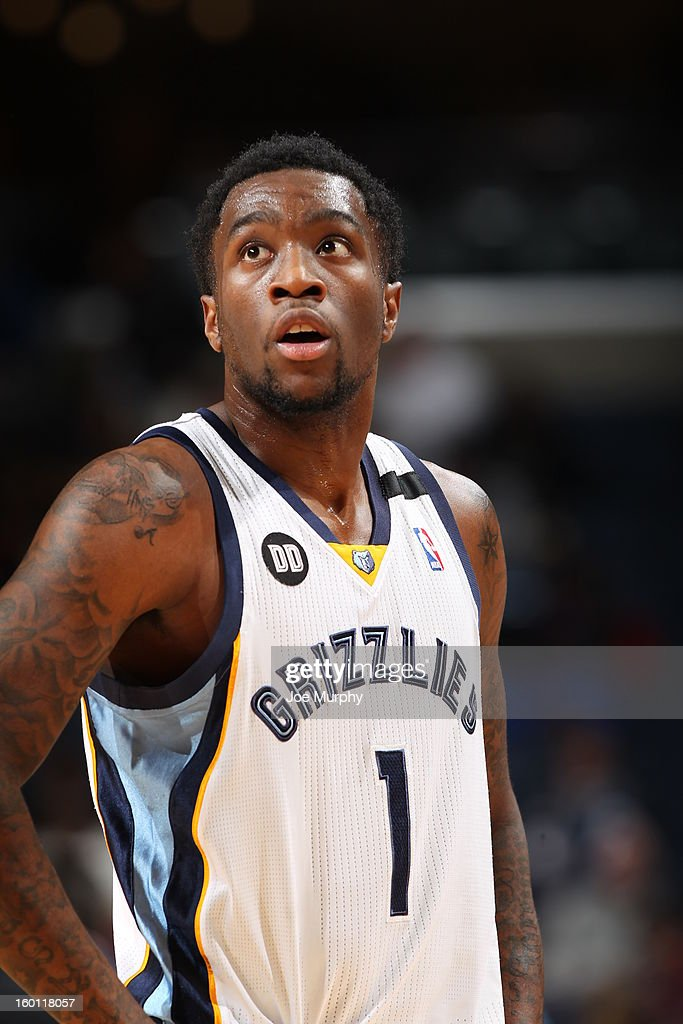 Tony Wroten #1 of the Memphis Grizzlies looks on during the game against the Los Angeles Clippers on January 14, 2013 at FedExForum in Memphis, Tennessee.