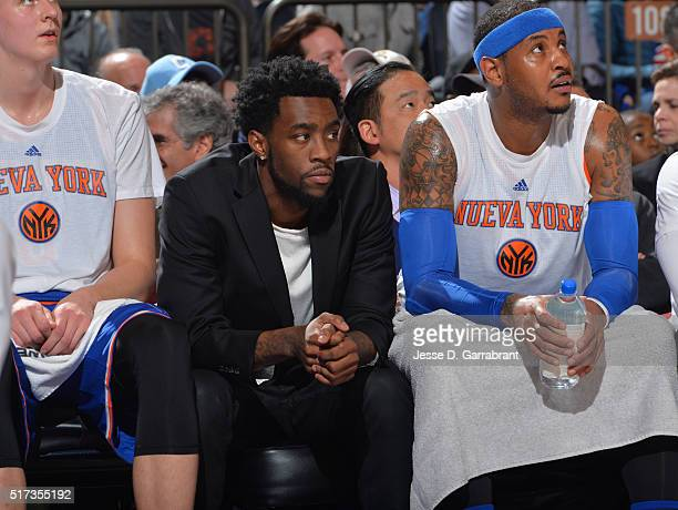Tony Wroten of the New York Knicks looks on against the Chicago Bulls at Madison Square Garden on March 24 2016 in New YorkNew York NOTE TO USER User...