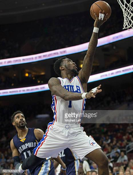 Tony Wroten of the Philadelphia 76ers attempts a layup in the game against the Memphis Grizzlies on December 22 2015 at the Wells Fargo Center in...