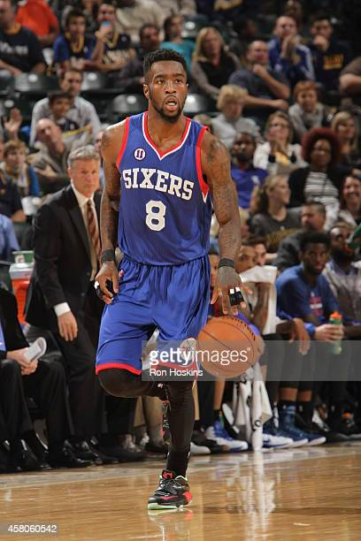 Tony Wroten of the Philadelphia 76ers brings the ball up court against the Indiana Pacers at Bankers Life Fieldhouse on October 29 2014 in...