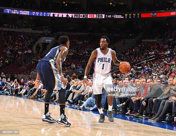 Tony Wroten of the Philadelphia 76ers dribbles the ball against the Memphis Grizzlies at Wells Fargo Center on December 22 2015 in Philadelphia...