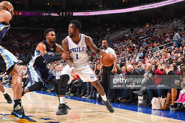 Tony Wroten of the Philadelphia 76ers dribbles the ball against the Memphis Grizzlies at Wells Fargo Center on December 22 2015 in Philadelphia...