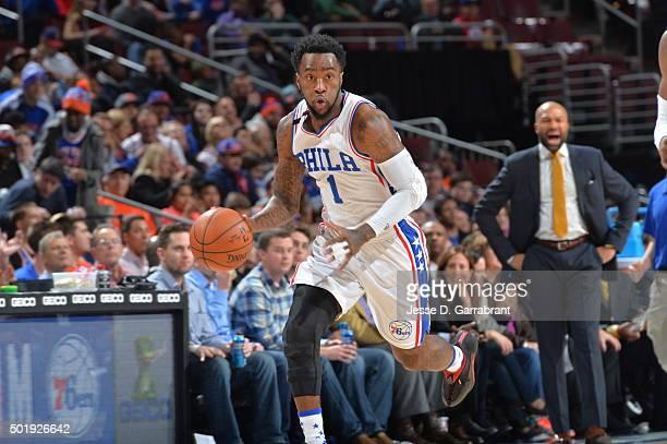 Tony Wroten of the Philadelphia 76ers dribbles up court against the New York Knicks at Wells Fargo Center on December 18 2015 in Philadelphia...