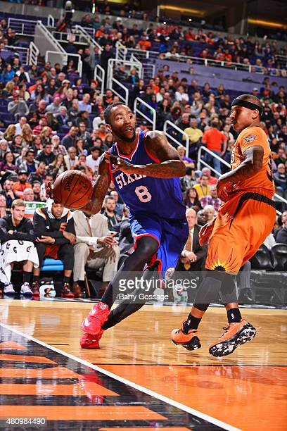 Tony Wroten of the Philadelphia 76ers drives against the Phoenix Suns on January 2 2015 at US Airways Center in Phoenix Arizona NOTE TO USER User...