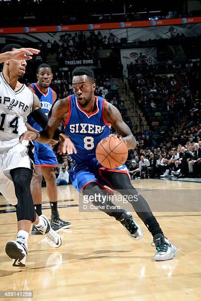 Tony Wroten of the Philadelphia 76ers drives against the San Antonio Spurs at the ATT Center on November 17 2014 in San Antonio Texas NOTE TO USER...