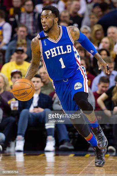 Tony Wroten of the Philadelphia 76ers drives the ball down court during the first half against the Cleveland Cavaliers at Quicken Loans Arena on...