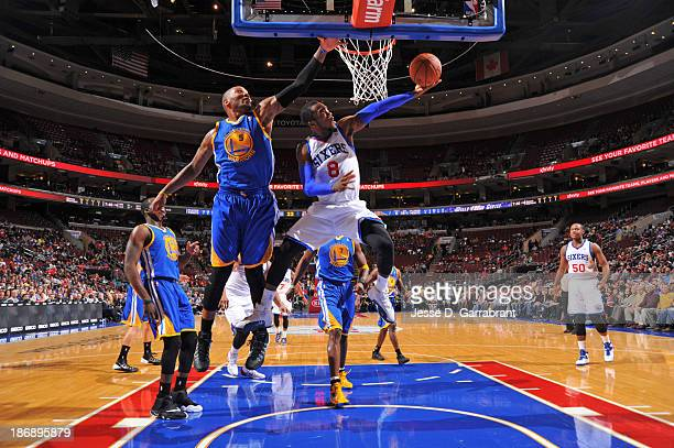 Tony Wroten of the Philadelphia 76ers drives to the basket against the Golden State Warriors at the Wells Fargo Center on November 4 2013 in...