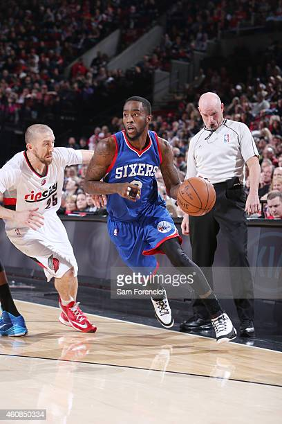 Tony Wroten of the Philadelphia 76ers drives to the basket against the Portland Trail Blazers during the game on December 26 2014 at the Moda Center...