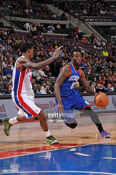 Tony Wroten of the Philadelphia 76ers drives to the basket against the Detroit Pistons on February 1 2014 at The Palace of Auburn Hills in Auburn...