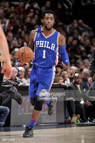 Tony Wroten of the Philadelphia 76ers drives to the basket against the Cleveland Cavaliers during the game on December 20 2015 at Quicken Loans Arena...