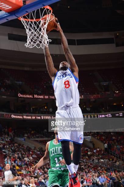 Tony Wroten of the Philadelphia 76ers dunking during a game against the Boston Celtics at the Wells Fargo Center on February 5 2014 in Philadelphia...