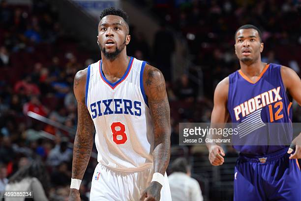 Tony Wroten of the Philadelphia 76ers during the game against the Phoenix Suns on November 21 2014 at Wells Fargo Center in Philadelphia Pennsylvania...