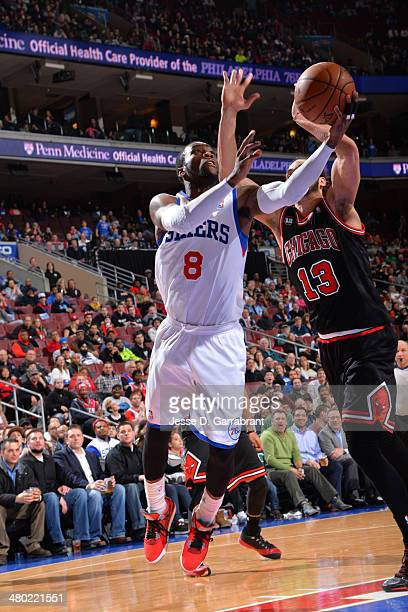 Tony Wroten of the Philadelphia 76ers goes up for a shot against the Chicago Bulls at the Wells Fargo Center on March 19 2014 in Philadelphia...