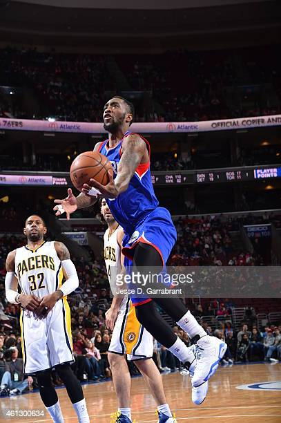 Tony Wroten of the Philadelphia 76ers goes up for the layup against the Indiana Pacers at Wells Fargo Center on January 10 2015 in Philadelphia...