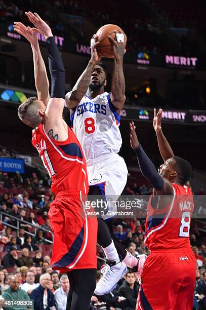 Tony Wroten of the Philadelphia 76ers goes up for the layup in traffic against the Atlanta Hawks at Wells Fargo Center on January 13 2015 in...