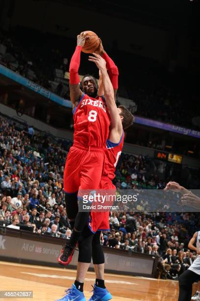 Tony Wroten of the Philadelphia 76ers grabs a rebound against the Minnesota Timberwolves on December 11 2013 at Target Center in Minneapolis...