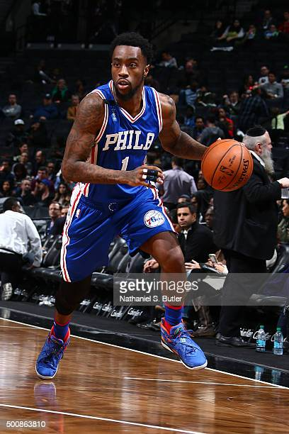 Tony Wroten of the Philadelphia 76ers handles the ball against the Brooklyn Nets on December 10 2015 at Barclays Center in Brooklyn New York NOTE TO...