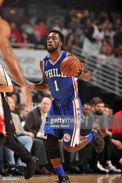 Tony Wroten of the Philadelphia 76ers handles the ball during the game against the Chicago Bulls on December 14 2015 at the United Center in Chicago...