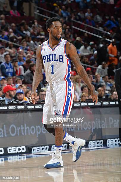 Tony Wroten of the Philadelphia 76ers looks on against the Denver Nuggets at Wells Fargo Center on December 5 2015 in Philadelphia Pennsylvania NOTE...
