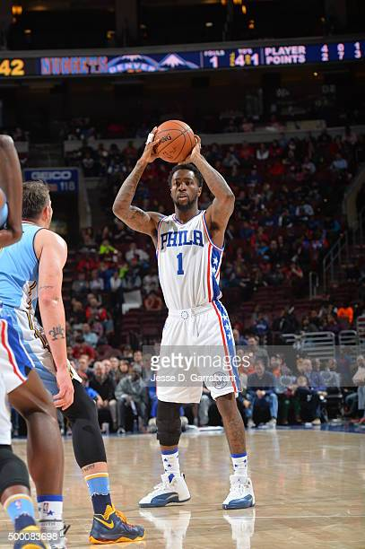 Tony Wroten of the Philadelphia 76ers looks to pass the ball against the Denver Nuggets at Wells Fargo Center on December 5 2015 in Philadelphia...