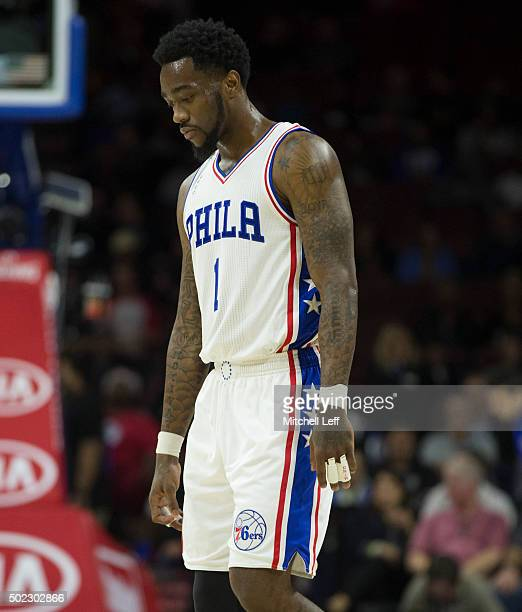 Tony Wroten of the Philadelphia 76ers reacts in the game against the Memphis Grizzlies on December 22 2015 at the Wells Fargo Center in Philadelphia...