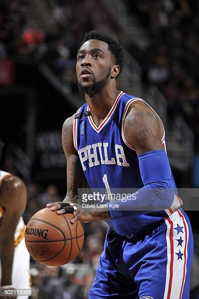 Tony Wroten of the Philadelphia 76ers shoots against the Cleveland Cavaliers during the game on December 20 2015 at Quicken Loans Arena in Cleveland...