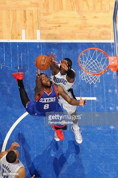 Tony Wroten of the Philadelphia 76ers shoots against the Orlando Magic on December 21 2014 at Amway Center in Orlando Florida NOTE TO USER User...