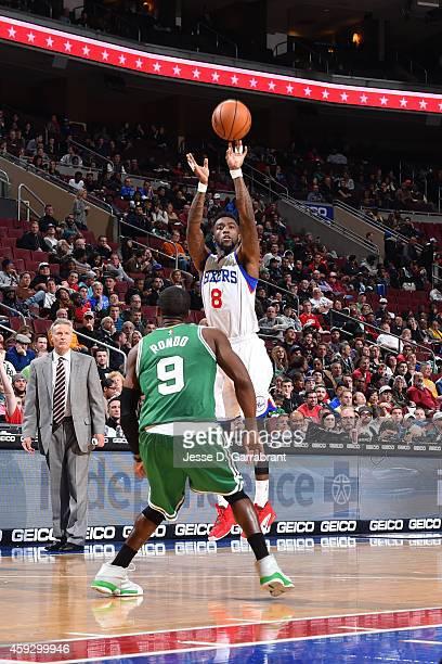 Tony Wroten of the Philadelphia 76ers shoots the ball against the Boston Celtics on November 19 2014 at Wells Fargo Center in Philadelphia...
