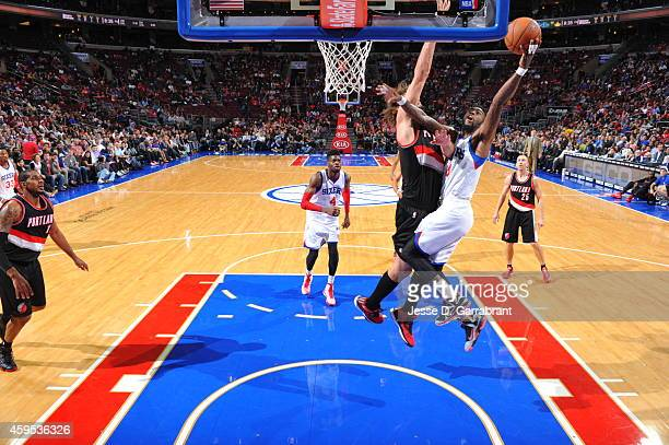Tony Wroten of the Philadelphia 76ers shoots the ball against the Portland Trail Blazers during the game on November 24 2014 at Wells Fargo Center in...