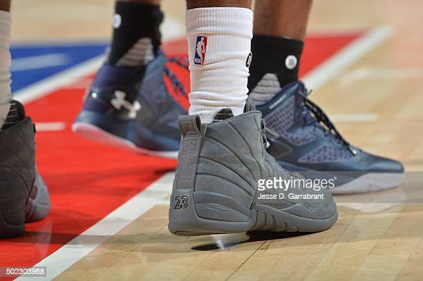 Tony Wroten of the Philadelphia 76ers showcases his Jordan 12s against the Memphis Grizzlies at Wells Fargo Center on December 22 2015 in...