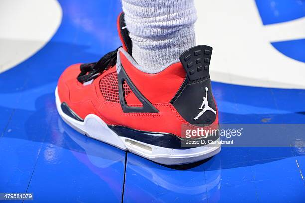 Tony Wroten of the Philadelphia 76ers showcases his Jordans against the Chicago Bulls at the Wells Fargo Center on March 19 2014 in Philadelphia...