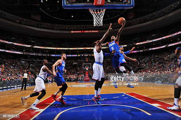 Tony Wroten of the Philadelphia 76ers taking a shot during a game against the New York Knicks at the Wells Fargo Center on January 11 2014 in...