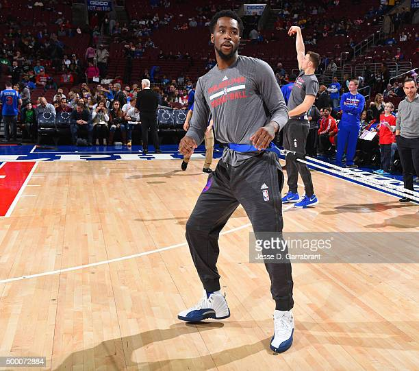 Tony Wroten of the Philadelphia 76ers warms up prior to the game against the Denver Nuggets at Wells Fargo Center on December 5 2015 in Philadelphia...