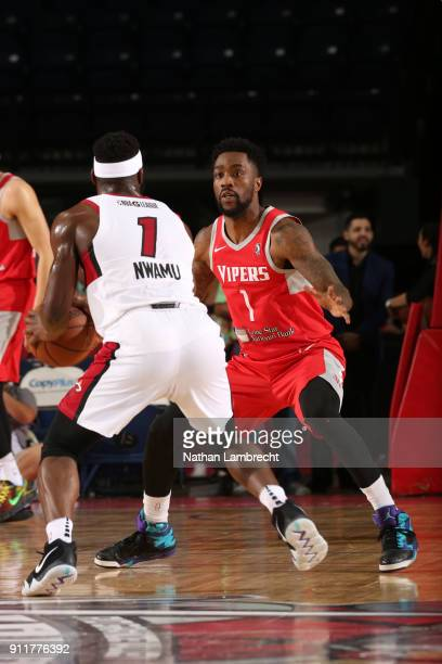 Tony Wroten of the Rio Grande Valley Vipers defends against Ike Nwamu of the Sioux Falls Skyforce during an NBA GLeague game on January 27 2018 at...