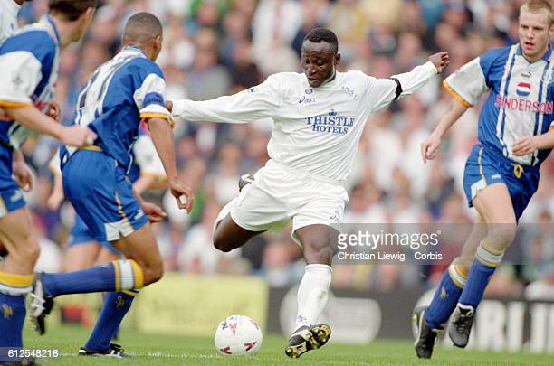 Tony Yeboah during a match between Sheffield Wednesday and Leeds United in the English Premier League